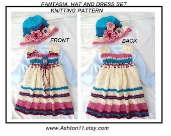 KNITTING PATTERN - Hat and Dress Set - Fantasia Beginner Knit baby girl dress - Newborn to 6 yrs -