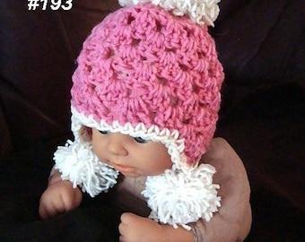 Crochet  Hat Pattern PDF 193- Snow Babe Pompom hat- Sizes Newborn, 3 to 6 Months, 6 to 12 Months.