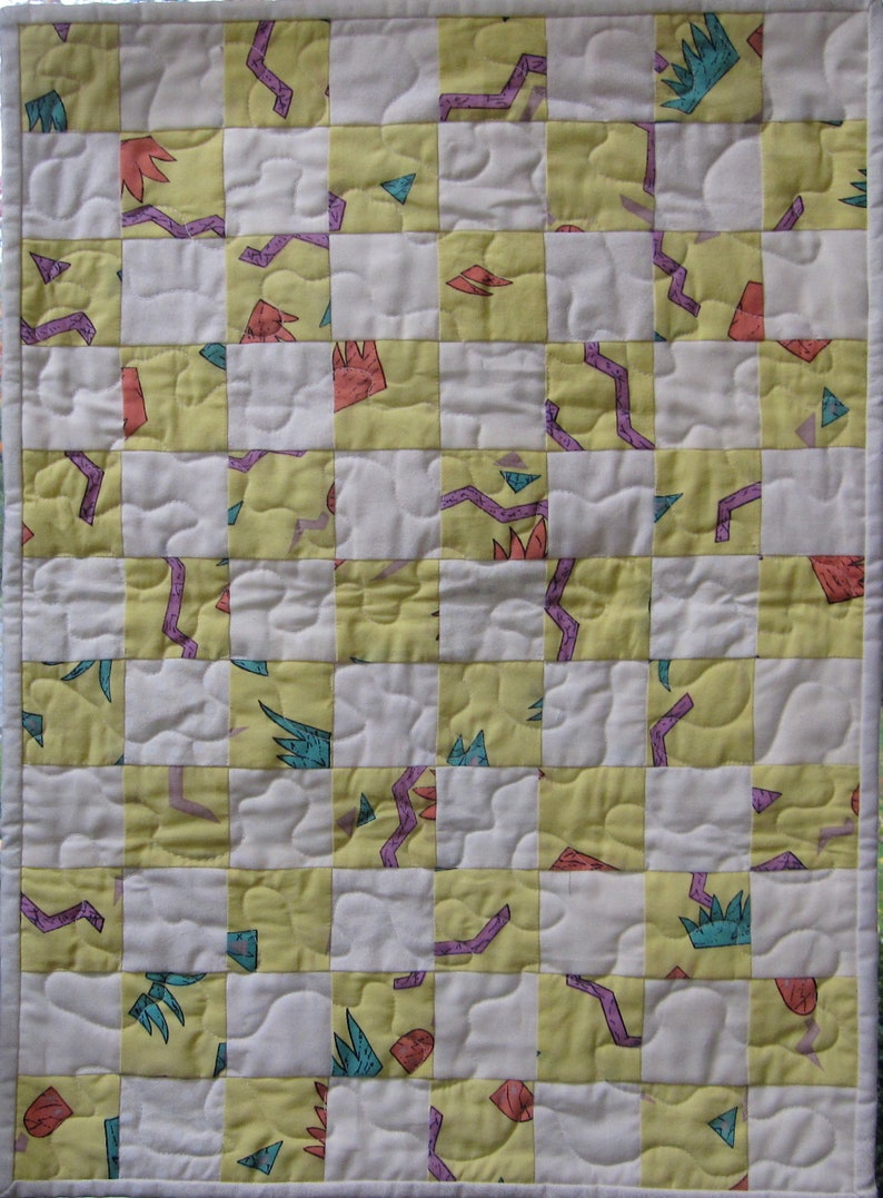 handmade quilt,pretend play Doll quilt yellow with multi color designs,America Girl quilt