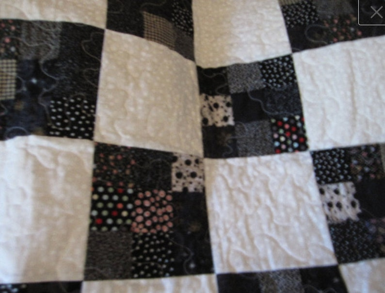 baby crib blanket Black and White baby quilt bedding,Home /& Living,blankets and throws 9 patch squares baby blanket