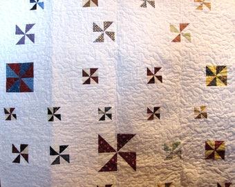 Multi colored Pinwheels, Baby quilt, Baby blanket,crib blanket