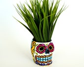 Ceramic Sugar Skull Planter Halloween Day of the Dead Hand Painted Dia de los muertos Candle Holder Folk Art - READY TO SHIP