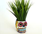 Ceramic Sugar Skull Planter Halloween Day of the Dead Hand Painted Dia de los muertos Candle Holder Folk Art - READY TO SHIP
