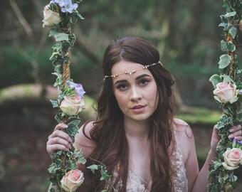 Boho gold head chain, bridal headpiece, headband, bridal headdress, bridal boho hair accessory