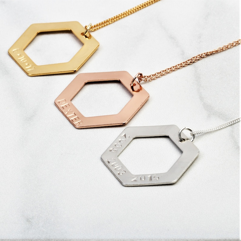 b490859767231 Personalised Hexagon geometric pendant necklace, minimalist jewellery,  Statement Birthday Mothers day gift for her, mum, sister, wife friend