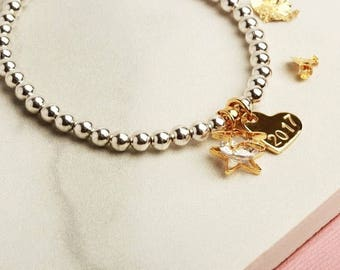 Mothers Day Gift for her, Anniversary Gift for her, mum, mom, personalised star heart stretch stacking bracelet silver rose gold yellow gold
