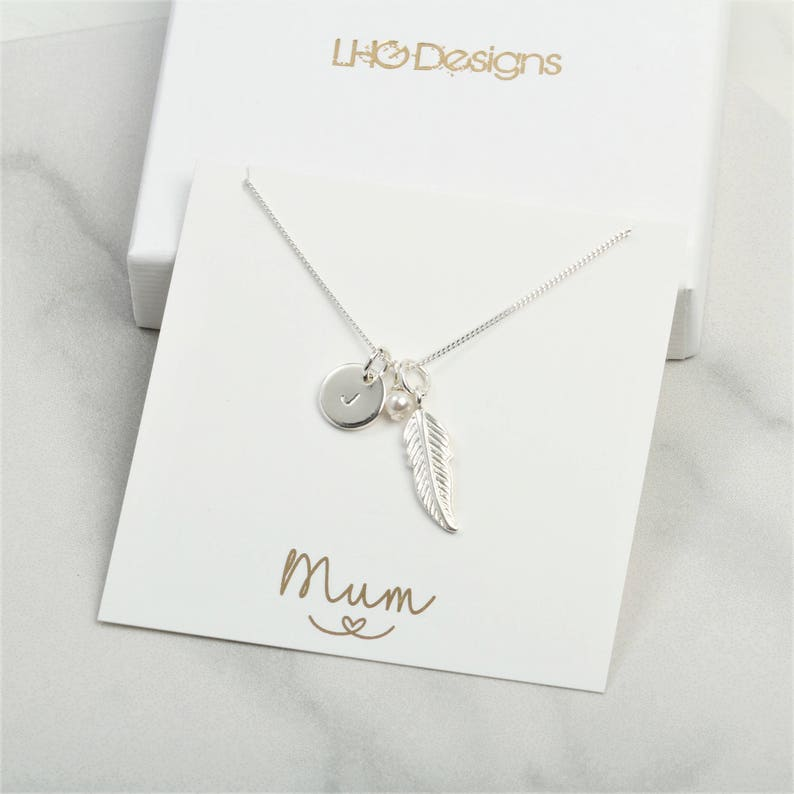 Personalised Silver Feather Necklace Birthday Gift For Her