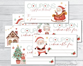 """Christmas Coupons - A gift from the Heart - Gifts from Children - Kids Coupon book - 2.5""""x5"""" Printable - PDF jpeg - INSTANT DOWNLOAD"""