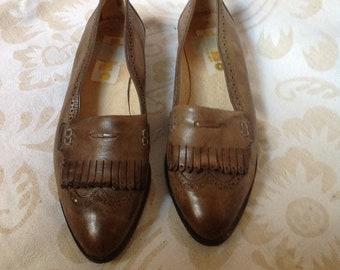 Comfort Shoes Basile Tan Brown Leather Shoes Uk 3 Eu 36 Square Toe Comfort Low Heel Women's Shoes