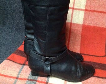 90s Black Buckle Boots Genuine Leather US 9 EU 40 UK 7
