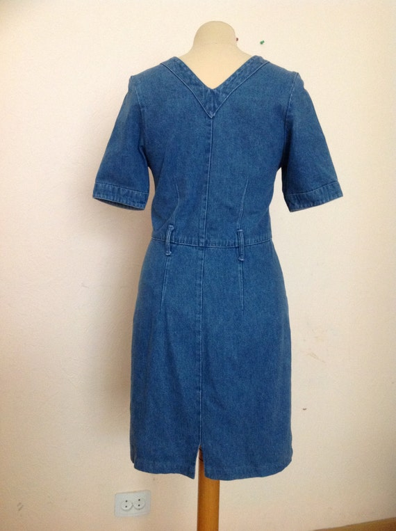 70s Embroidered Denim Dress Short Sleeve Small - image 4