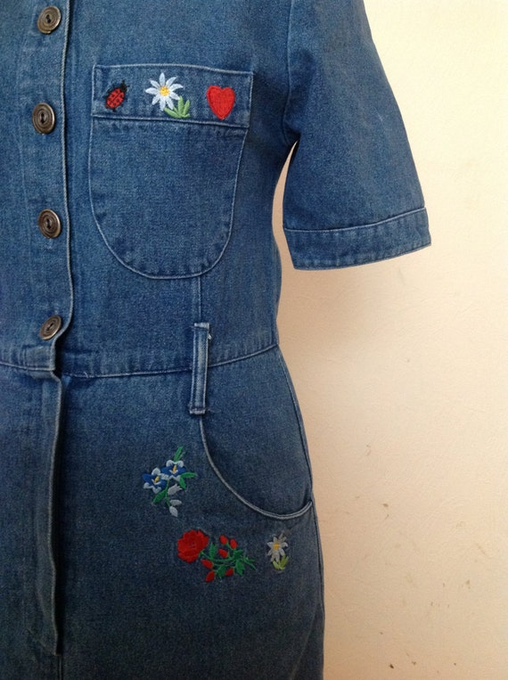 70s Embroidered Denim Dress Short Sleeve Small - image 3