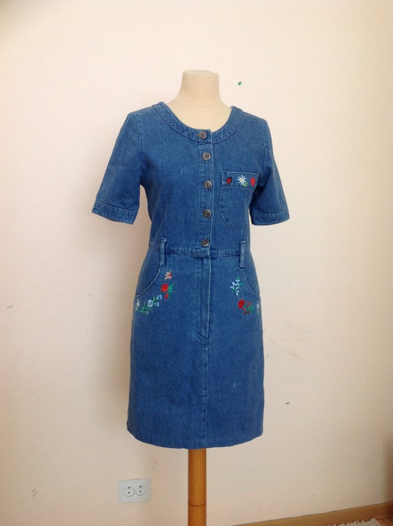 70s Embroidered Denim Dress Short Sleeve Small