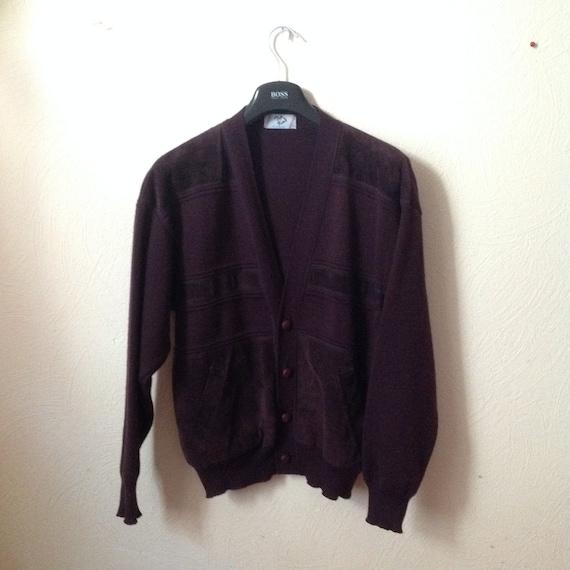 70s Suede Wool Slouchy Cardigan Sweater Blazer Men