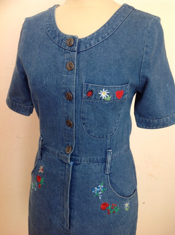 70s Embroidered Denim Dress Short Sleeve Small - image 5