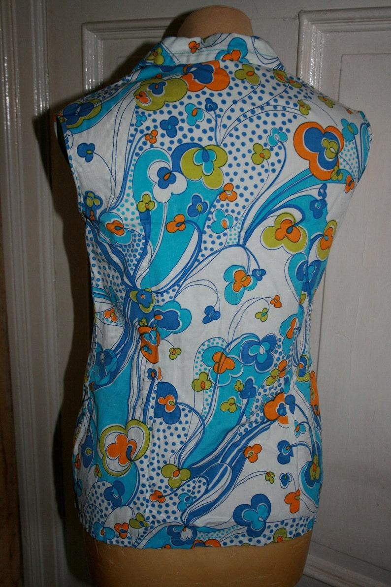 70s Psychedelic Sleeveless Blouse Blue White Yellow Medium