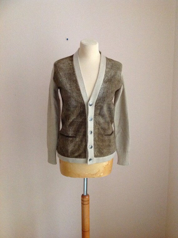 Borbonese Cream Suede Wool Sweater Cardigan Small