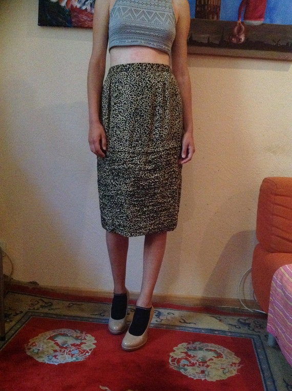 60s Animal Print Pencil Skirt Silk Midi Medium M