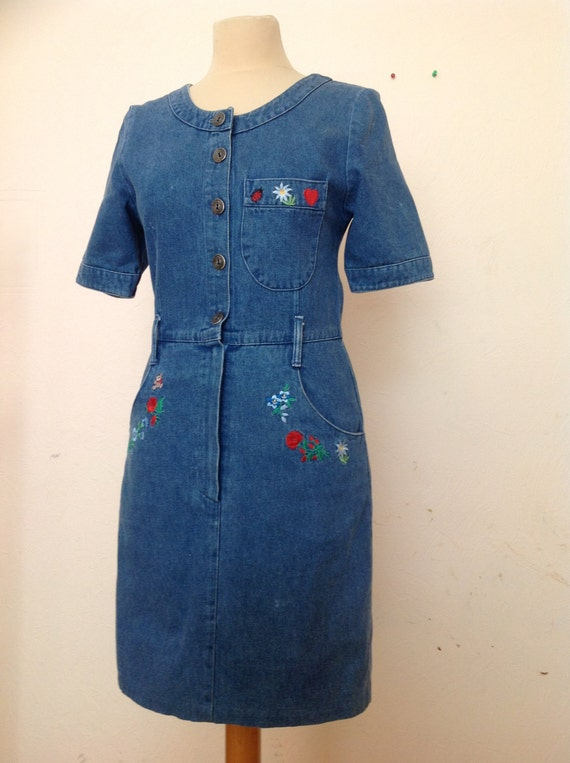 70s Embroidered Denim Dress Short Sleeve Small - image 2
