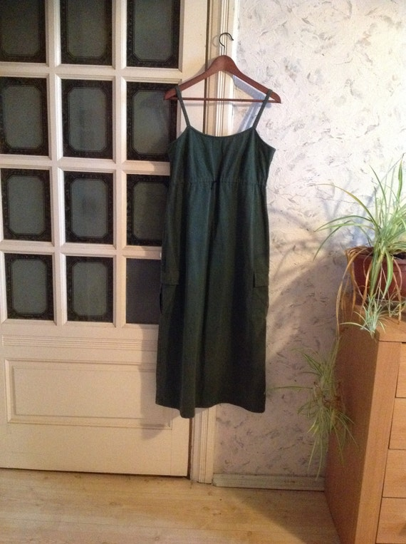 Vintage Olive Green Overall Dress Camo Green Strap