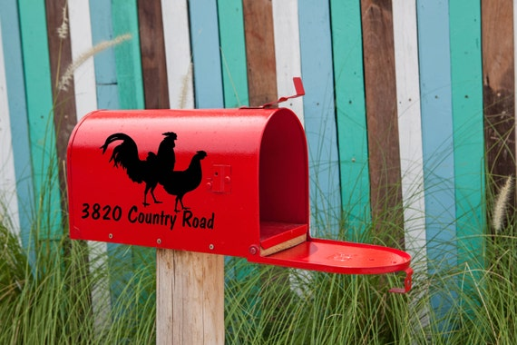 Mailbox Address Mailbox Decal Address Decal Rooster Mailbox Number with Rooster /& Chicken Vinyl Decal