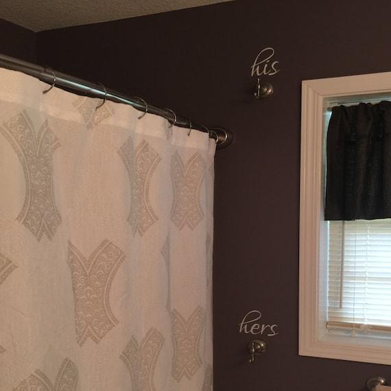 His Hers Vinyl Decal Bathroom Decal Towel Rack Markers Etsy