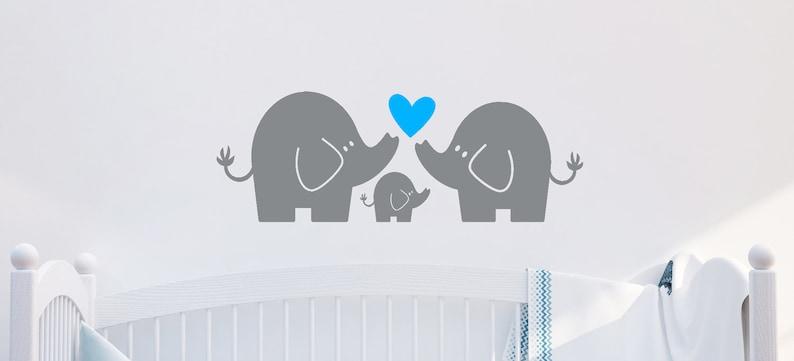Elephant Family Elephant Family Wall Decal Elephant Wall Art Baby Boy or Girl Nursery Decor