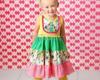18f24fa08 Girls Summer Twist Dress, boutique dresses for girls, tank top, tank dress,  yellow stripe, knit dress, sister dresses, twirl dress