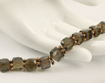 10 Sparkling Smokey Quartz Faceted Cube Beads, 7.7-8.6mm, 50.4cts AAA Transparent Smoky Quartz with Antiqued Copper Daisies