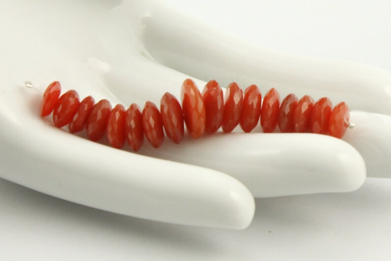 28.8 cts 7mm 17 Sparkling Reddish-Orange Onyx Micro Faceted Rondelle Beads 10.8mm 2 German Faceted Red Onyx Rondelles