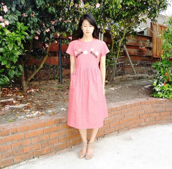 Japanese BRICK red COTTON summer dress ( Sz M )