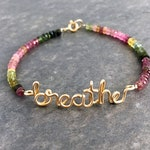 Gold breathe Bracelet with birthstones. 14k Gold Filled breathe bracelet with Genuine Watermelon Tourmaline Gemstones. Aziza Jewelry