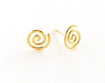 Gold Spiral Earrings Gold Swirl stud earrings Birthday gift Spiral Stud Earrings SALE