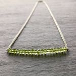 Peridot Bar Necklace. 14k rose gold filled Faceted Peridot Green Gemstones Necklace.