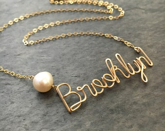 Custom Gold Name Necklace with White Freshwater Pearl. Personalized Pearl Name Necklace in 14k Gold. Script Name Brooklyn Necklace Pearl