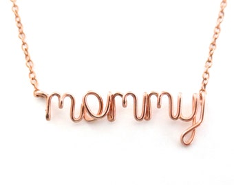Rose Gold Mommy Necklace. New Mom Necklace. Mommy Name Necklace in 14k rose gold filled. Custom Mothers Day Name Necklace.