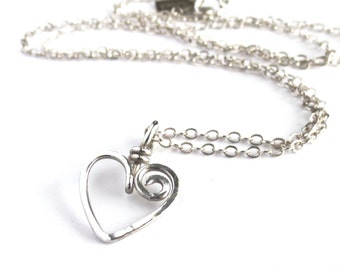 Sterling Silver Heart Necklace. Hand Hammered Swirly Heart Necklace. Spiral Silver Swirl Heart Pendant. Teen Girl Gift Under 50