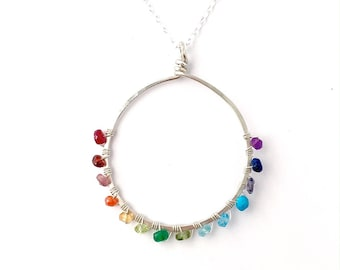 Rainbow Gemstone Sterling Silver Hoop Necklace. Open Circle Hoop Pendant Necklace. Round Circle Hammered Colorful Silver Necklace.