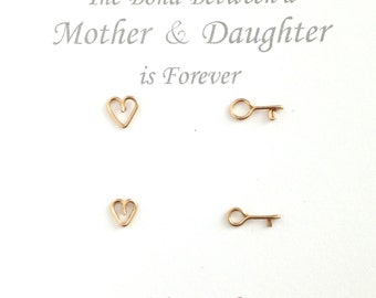 Gold Mother Daughter Earrings. 2 Pairs Gold Heart Key Studs Set. Gold Heart Key Posts. New Mom Jewelry. Push Present. Mother's Day Earrings