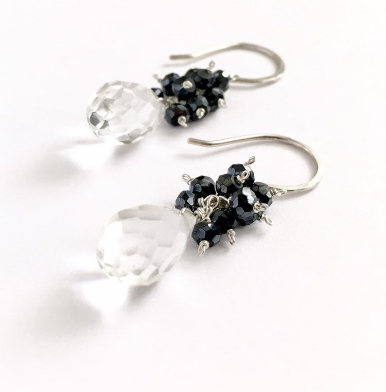 Clear quartz earrings with black spinel gemstones. Sterling image 0