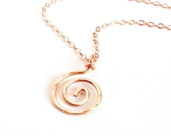 Rose Gold Spiral Pendant. 14k Solid Rose Gold spiral sun swirl necklace pendant.