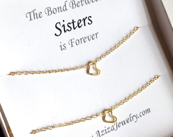 Sisters Heart Necklaces. Sister Gold Small Heart Necklace Set. Sister Necklaces. Teen Gift. BFF Heart Necklaces. Girls Gift Under 100