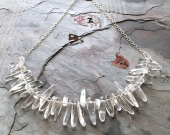 Crystal Statement Necklace. Polished Crystals and Sterling Silver. Clear Crystal Classy Dressy Statement Necklace