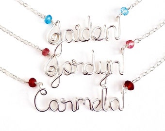 Custom Child Sterling Silver Name Necklace with Birthstone Gemstone. Girls 15, 14, 13 inch Name Necklace.
