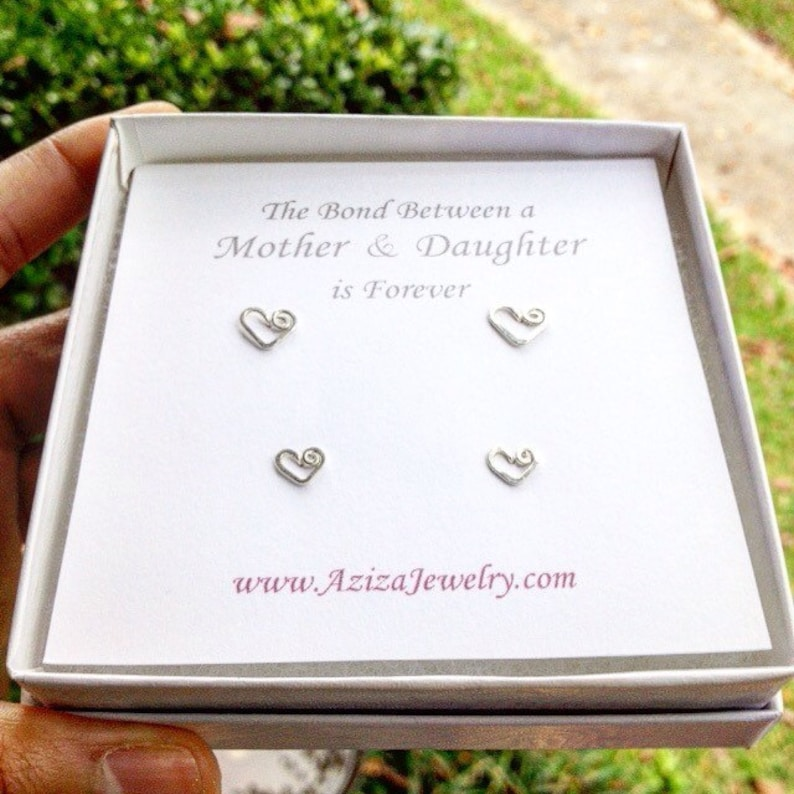 Mother Daughter Heart Studs Set. 2 Pairs 14k Solid White Gold image 0