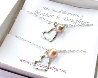 Matching Heart Necklaces with Freshwater Pearls. Mother Daughter Hearts Pearls Necklaces. Heart Necklace Gift Set. Push Present. Mom Gift.