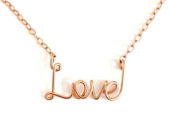 Gold Love Necklace. Rose Gold Love Necklace. Pink Rose Gold Filled Love Necklace. Valentines Day Gift