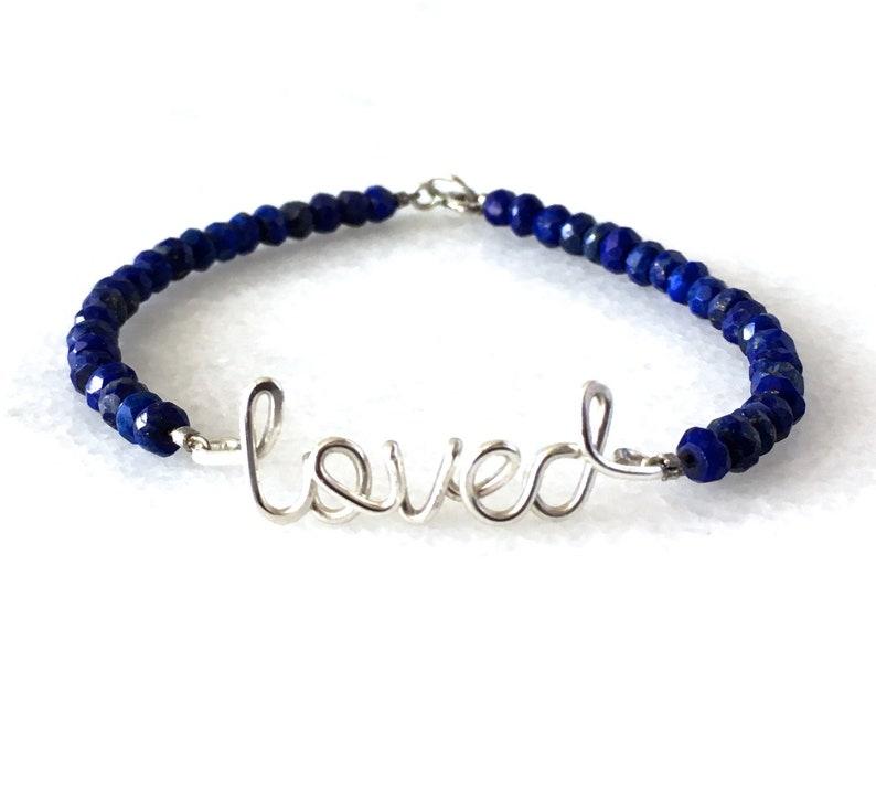 Sterling Silver Love Lapis Lazuli Bracelet. Loved with Blue image 0