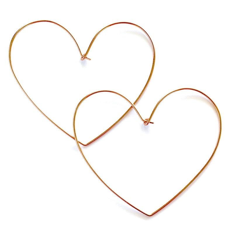 Heart Earrings. 14k Gold Heart Hoop Earrings. Large Hoops. image 0