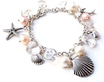 Sterling Silver Beach Bracelet. Beach wedding bracelet. Starfish, Dolphin, Pearls Crystals Bracelet. Ocean Beach Jewelry